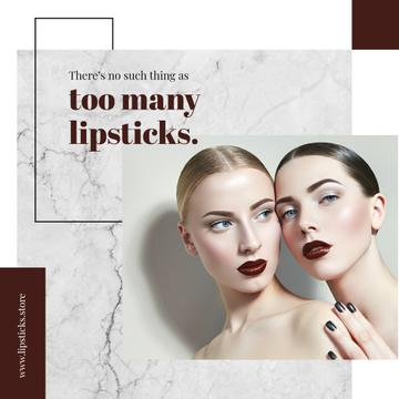 Lipstick Quote Young Women with Fashionable Makeup | Instagram Ad Template