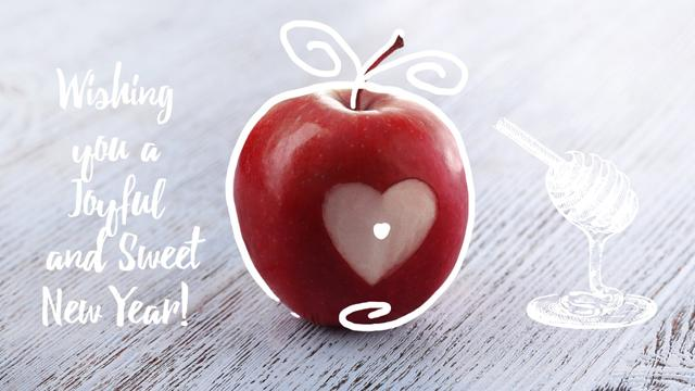 Designvorlage Rosh Hashanah apple with heart symbol für Full HD video