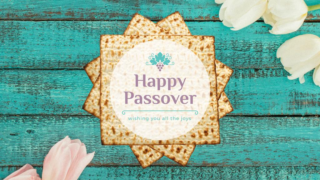Happy Passover Table with Unleavened Bread — Crear un diseño
