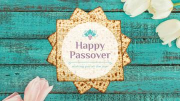 Happy Passover Table with Unleavened Bread