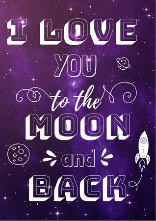 Designvorlage Motivational Love Quote on Night Sky für Poster