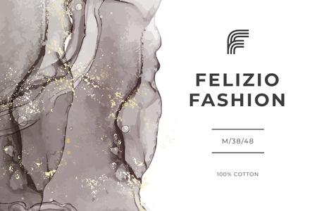 Fashion Brand ad on grey watercolor pattern Label – шаблон для дизайна