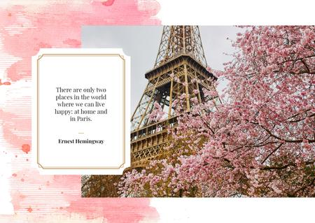 Paris Travelling Inspiration with Eiffel Tower Postcard Design Template