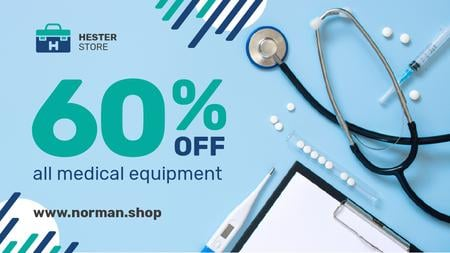 Plantilla de diseño de Medical Equipment Offer Pills and Instruments on Blue Title