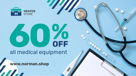 Designvorlage Medical Equipment Offer Pills and Instruments on Blue für Title