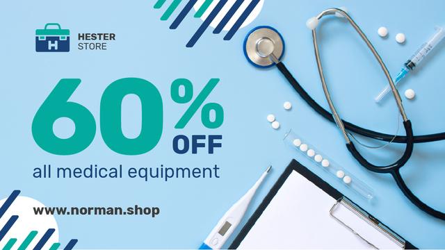 Ontwerpsjabloon van Title van Medical Equipment Offer Pills and Instruments on Blue