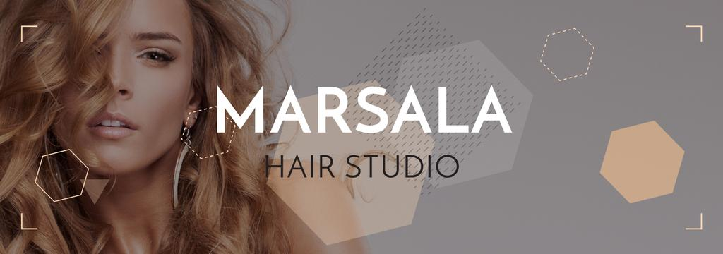 Hair Studio Ad Woman with Blonde Hair — Crea un design