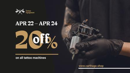 Tattoo Equipment Offer with Artist holding Machine FB event cover – шаблон для дизайну