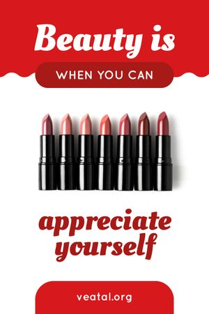 Beauty Quote Lipsticks in Red Tumblr Modelo de Design