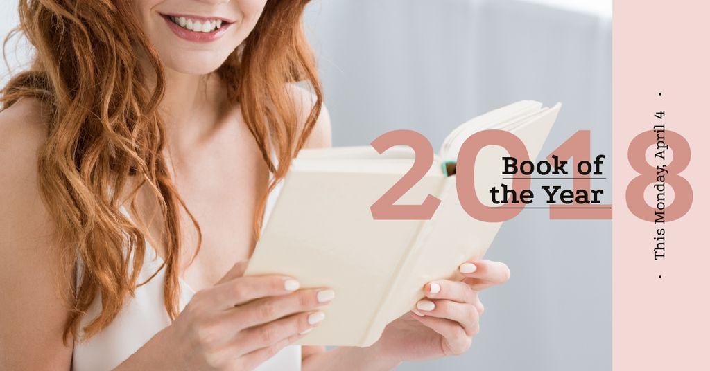 Girl reading book and smiling — Crea un design