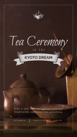 Japanese Tea Ceremony Pot and Ceramics Instagram Video Story Modelo de Design