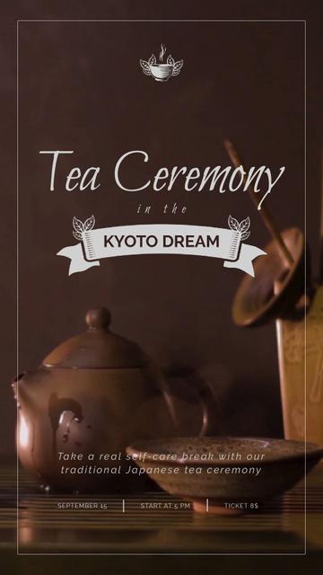 Japanese Tea Ceremony Pot and Ceramics Instagram Video Story Tasarım Şablonu