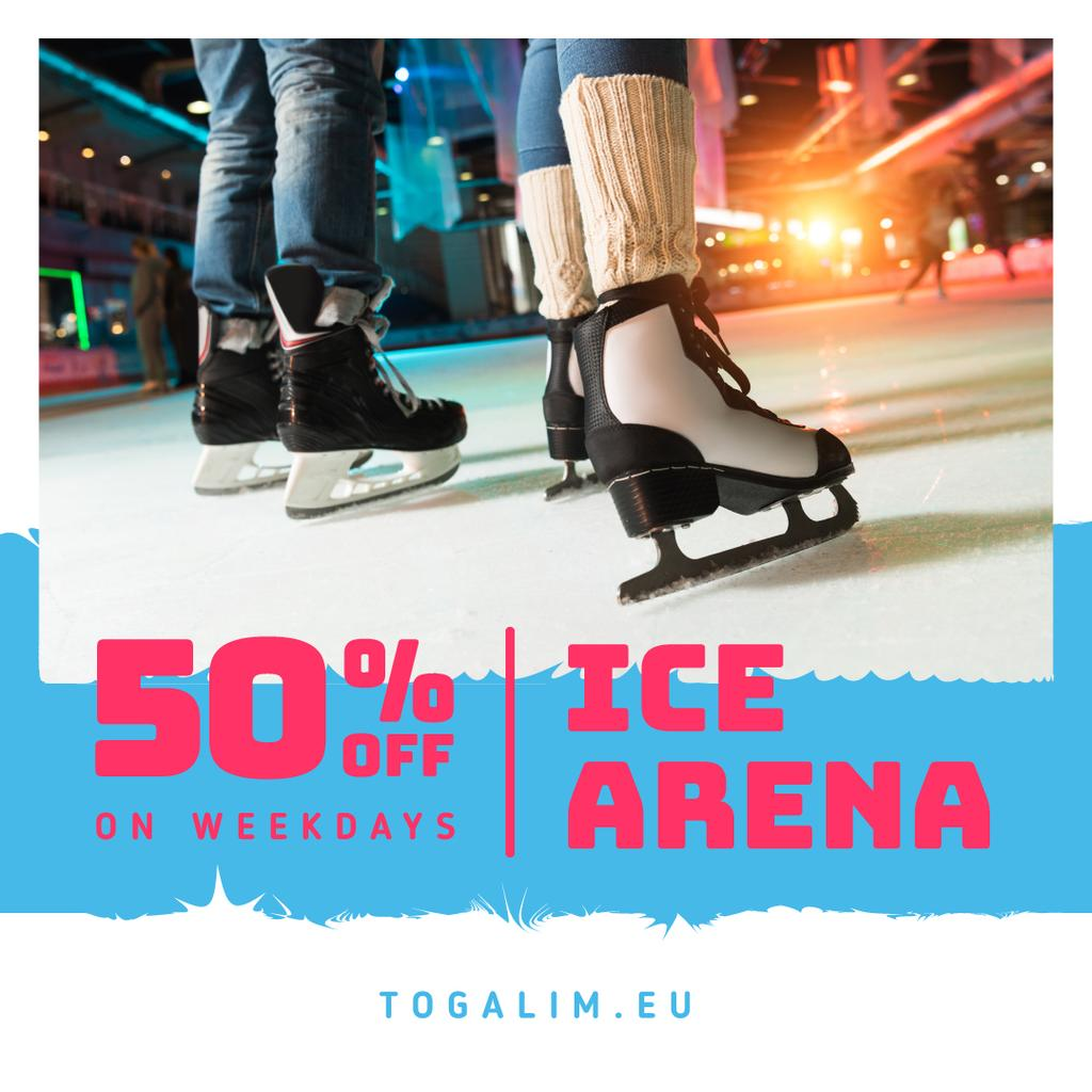 Ice Arena Offer People Skating — Create a Design
