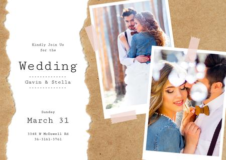 Wedding Invitation Happy Embracing Newlyweds Card Modelo de Design
