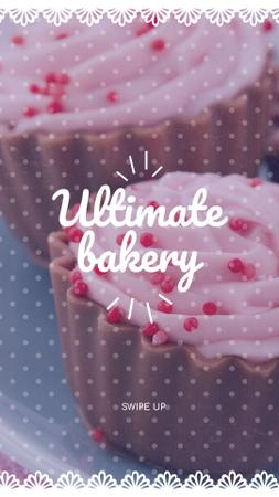 Designvorlage Bakery ad with Sweet Cupcakes in Pink für Instagram Story