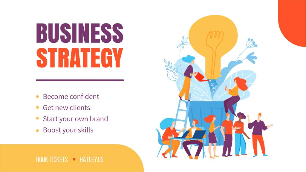 Business Strategy Courses People Growing Bulb | Full Hd Video Template — Crear un diseño