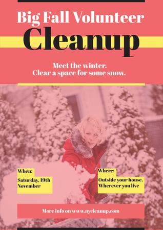 Plantilla de diseño de Winter Volunteer clean up Poster