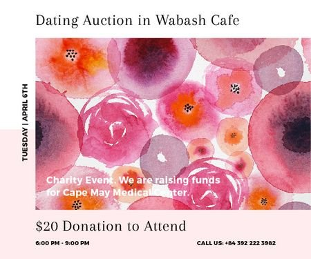 Dating Auction in Wabash Cafe Medium Rectangle Modelo de Design