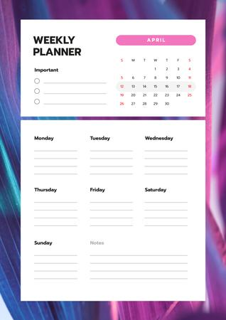 Plantilla de diseño de Weekly Planner on Purple Gradient Texture Schedule Planner