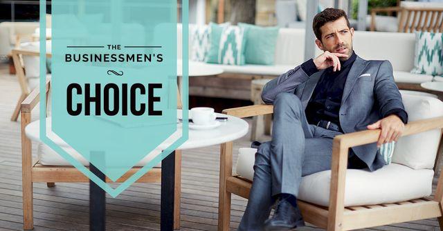 Ontwerpsjabloon van Facebook AD van Fashion Ad with Man Wearing Suit in Blue