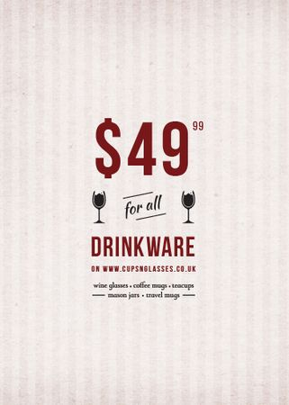 Plantilla de diseño de Drinkware Sale Glass with red wine Invitation
