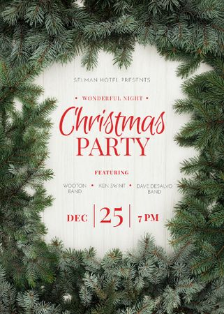 Plantilla de diseño de Christmas Party Green Tree Frame Invitation