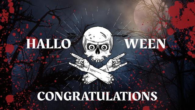 Halloween Scary Skeleton in Forest Youtube Thumbnailデザインテンプレート