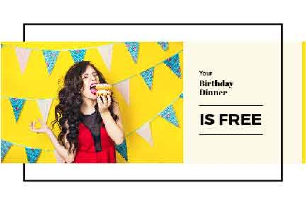 Birthday Dinner Offer with Girl Eating Burger — Створити дизайн