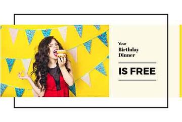 Birthday Dinner Offer Girl Eating Burger | Gift Certificate Template