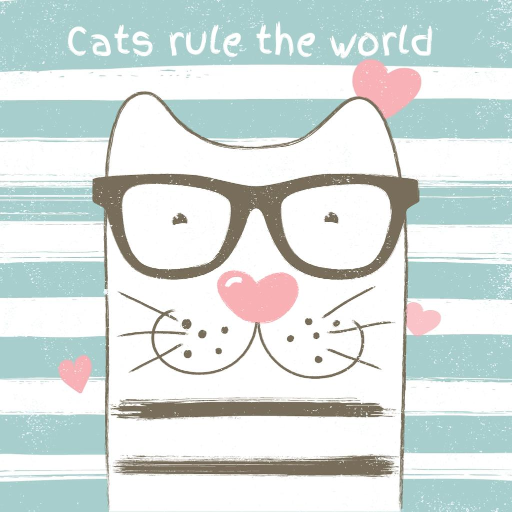 Smart cat on striped background with hearts — ein Design erstellen