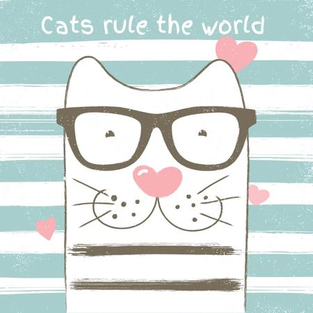 Smart cat on striped background with hearts Animated Post Tasarım Şablonu