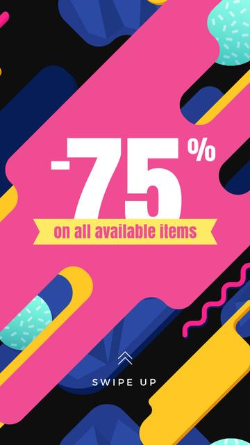 Store sale on geometric pattern Instagram Story – шаблон для дизайна