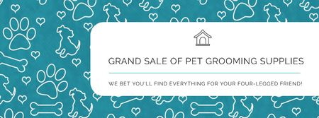 Grand sale of pet grooming supplies Facebook cover Modelo de Design