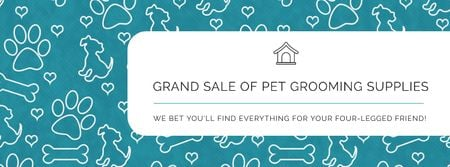 Plantilla de diseño de Grand sale of pet grooming supplies Facebook cover