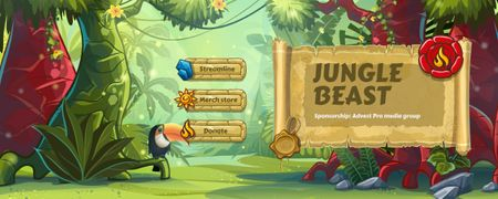Toucan bird in Jungle Twitch Profile Banner – шаблон для дизайна