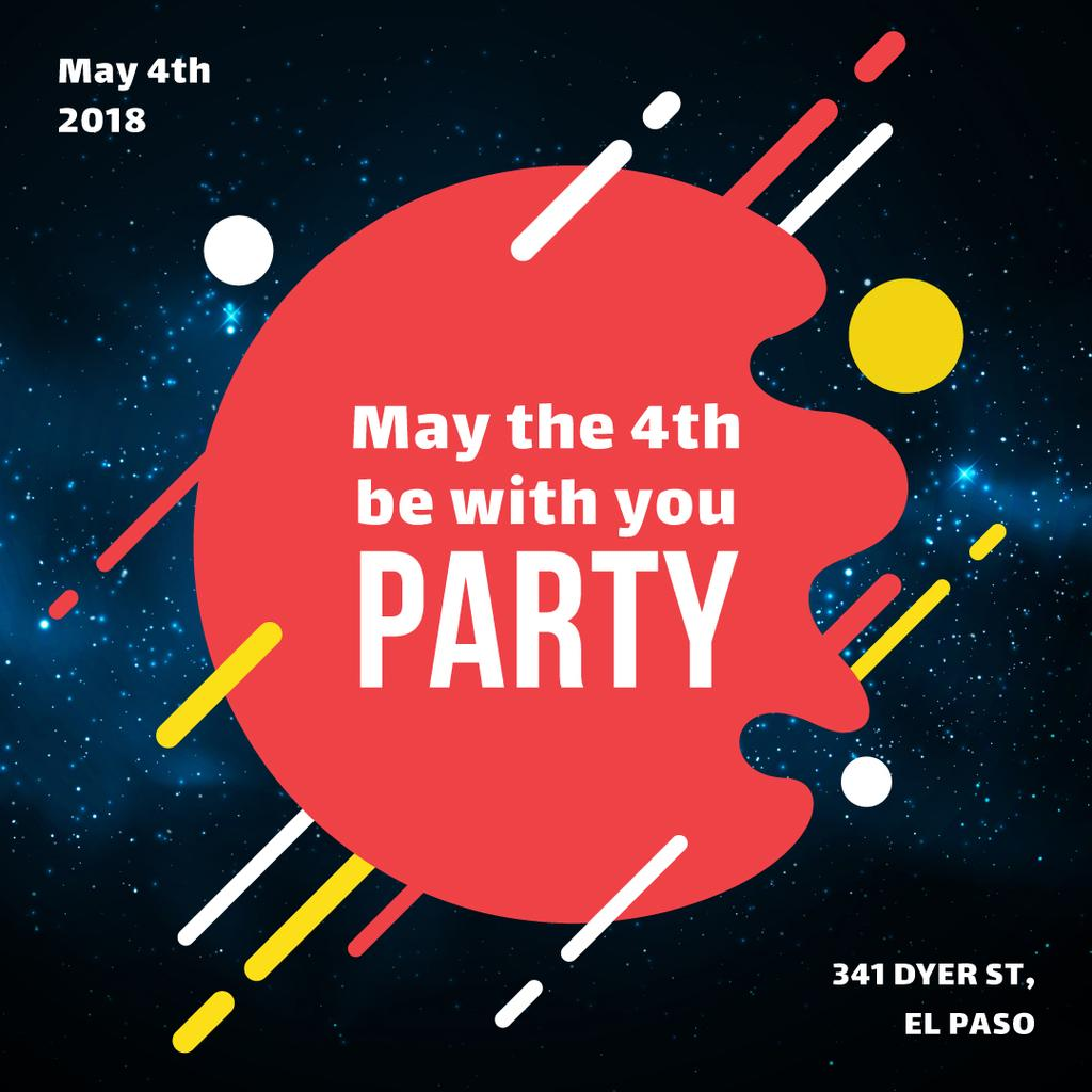 Star Wars Day party invitation on space background — Crear un diseño
