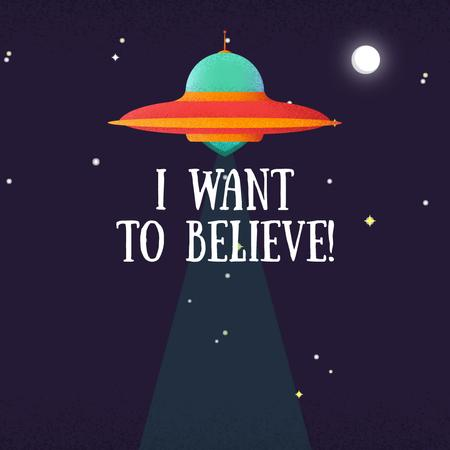 Template di design UFO abducting cow Animated Post