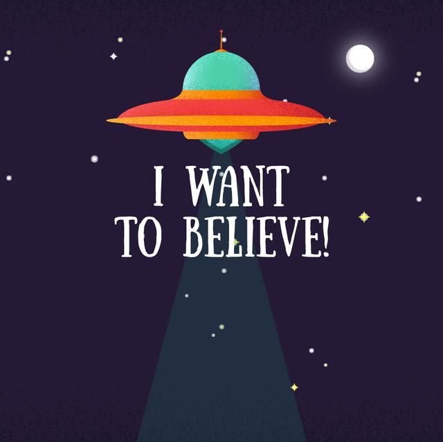 Template di design UFO abducting cow Animated Post