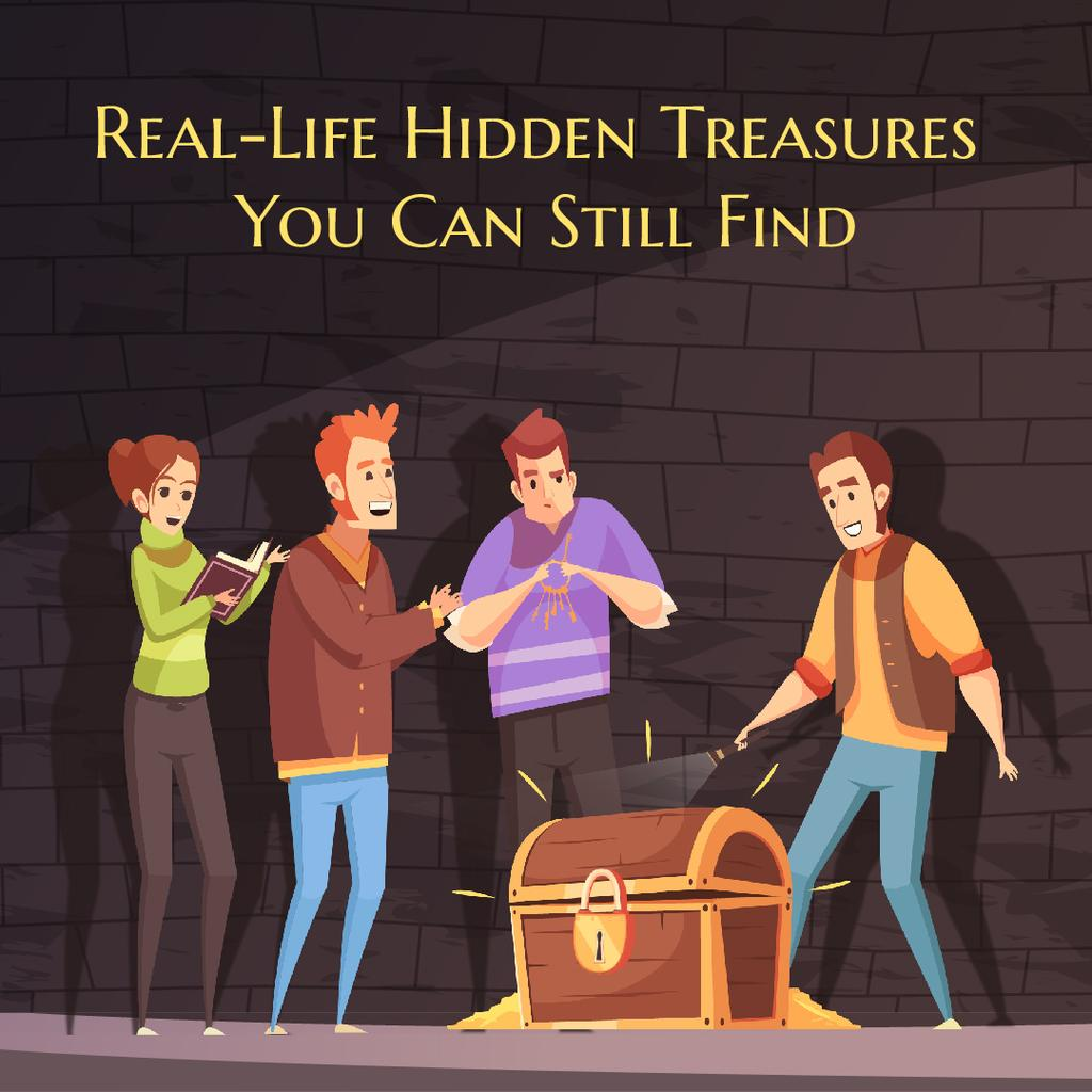 team of friends opening treasure chest animated post template