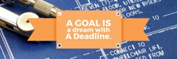 Goal Motivational Quote Blueprints and Compass | Twitter Header Template