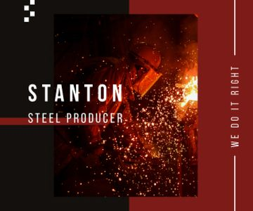 Steel Production Man Melting Metal | Large Rectangle Template
