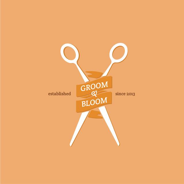 Hair Studio Ad with Scissors in Orange Logo Tasarım Şablonu