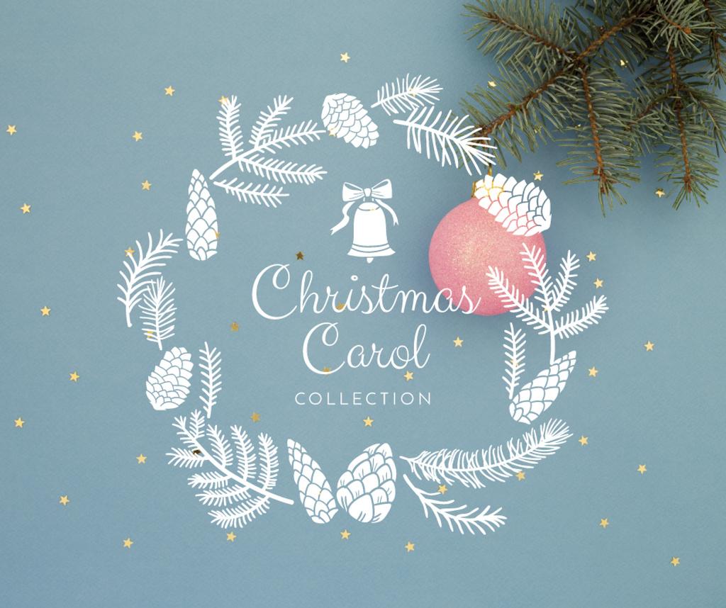 Decorative Christmas wreath in blue — Crear un diseño