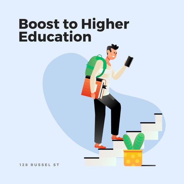Plantilla de diseño de Student walking on stairs Animated Post