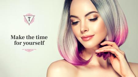 Template di design Beautiful young woman with modern hairstyle Presentation Wide