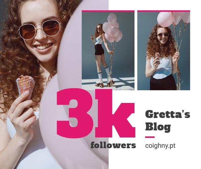 Blog promotion Woman with Ice Cream and Balloons Facebook Modelo de Design