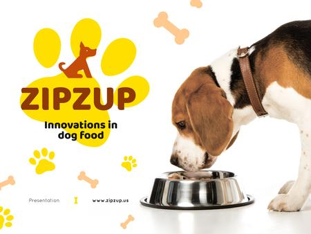 Designvorlage Pet Nutrition Guide with Dog Eating Its Food für Presentation