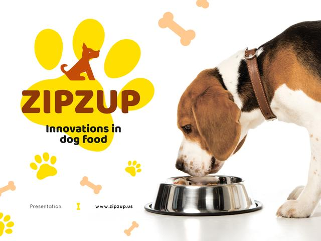Pet Nutrition Guide with Dog Eating Its Food Presentation Design Template