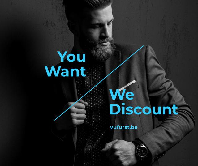 Plantilla de diseño de Suits Store Offer Stylish Bearded Man Facebook