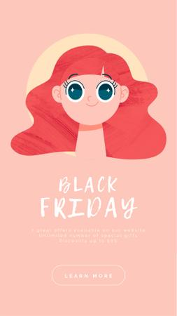 Plantilla de diseño de Black Friday Sale Offer Shocked Girl Instagram Video Story